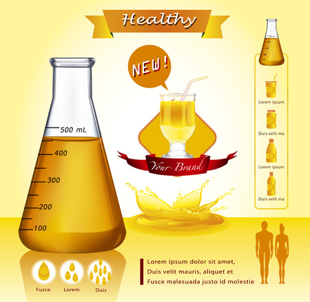 Test-tube with yellow liquid infographics - Illustration - Illustration Vector