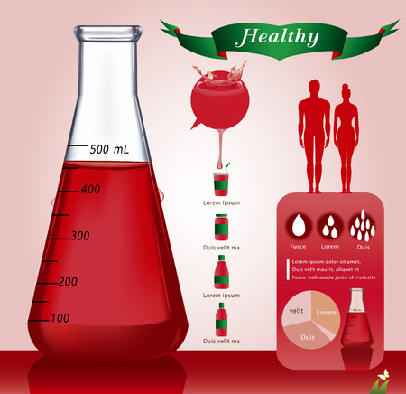 Test-tube with red liquid infographics - Illustration - Illustration Vector