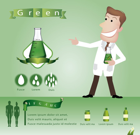 Scientist keeps chemicals in test tube - Illustration Vector