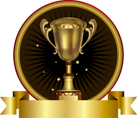 Vector illustration of gold shiny trophy Vector