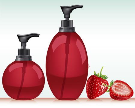 jabon liquido: Gel, espuma o jabón líquido de la bomba botella listo para su diseño del embalaje del producto Imagen vectorial Vectores