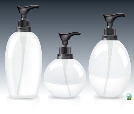hair treatment: Blank packaging - bottles, cosmetics Illustration