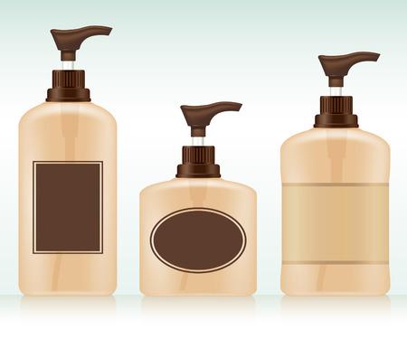 shampoo bottles: Blank packaging - bottles, cosmetics Illustration