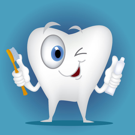 teeth cleaning: Tooth cartoon holding toothbrush and toothpaste Illustration
