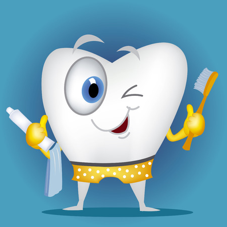 Tooth cartoon holding toothbrush and toothpaste Vettoriali