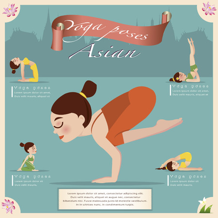 yoga class: Woman in pose practicing yoga.vector illustration