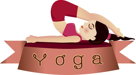 Woman in pose practicing yoga.vector illustration Vector
