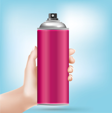 aerosol can: Hand pointing pink aerosol can - Illustration - Illustration Illustration