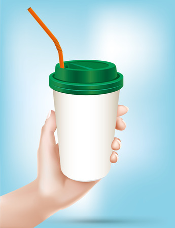 carrying out: Hand holding dispossable drink cup.vector - Illustration Illustration