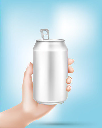 carbonated beverage: Aluminum can in hand - Illustration - Illustration Illustration