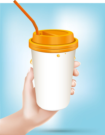 Hand holding dispossable drink cup.vector - Illustration Vector