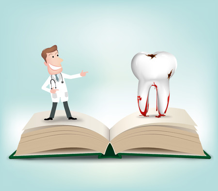 cavities: Dentist with book.vector