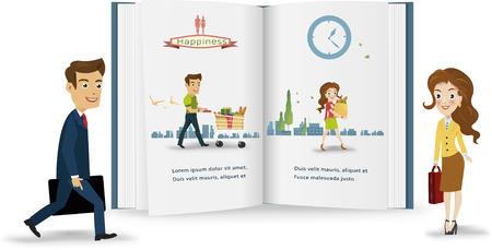 mujer en el supermercado: Peple negocio infographic.vector ilustración