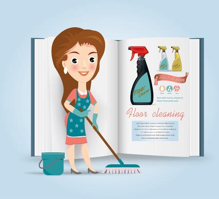 sloppy: Floor cleaner.vector illustration Illustration
