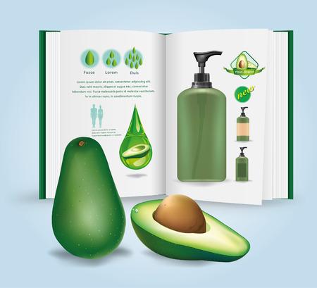 half open: Vector illustration. Avocado package. infographics