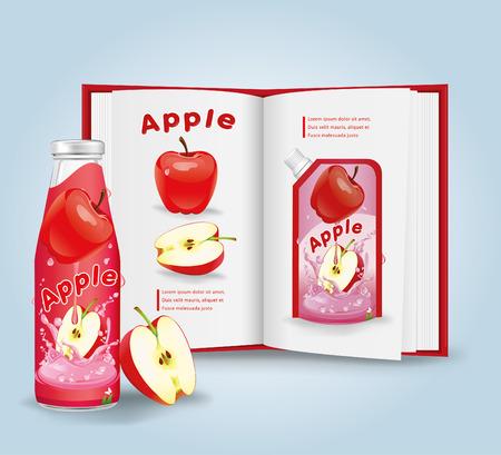 cider: Apple cider with book.vector Illustration