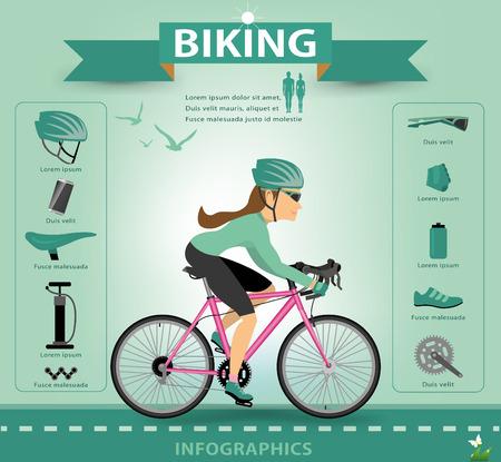 saddlebag: bike infographics.vector Illustration