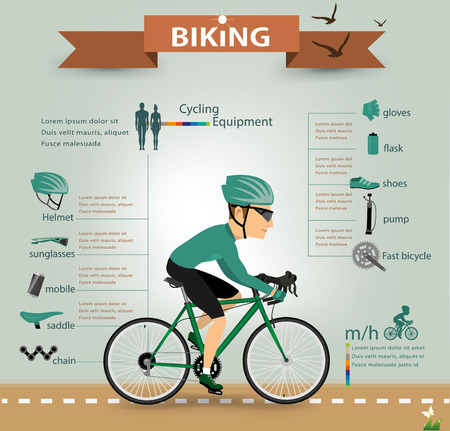 road cycling: bike infographics.vector Illustration