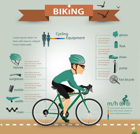 silueta ciclista: infographics.vector bicicleta