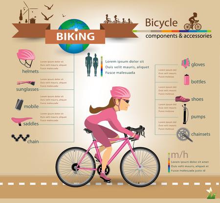biking glove: bike infographics.vector Illustration