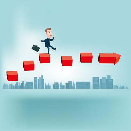 businessman jump over arrows.vectors