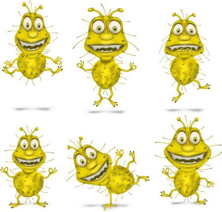 dangerously: Bacteria Set. Vector illustration. Isolated on white background