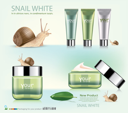 snails: Stock Vector Illustration: snail cosmetic packaging design.vector