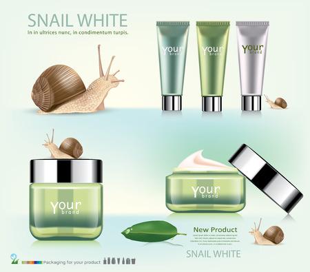 Stock Vector Illustration: snail cosmetic packaging design.vector