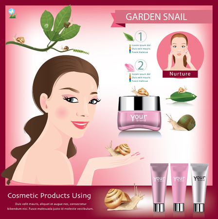 beauty shot: snail cosmetic packaging design .vector