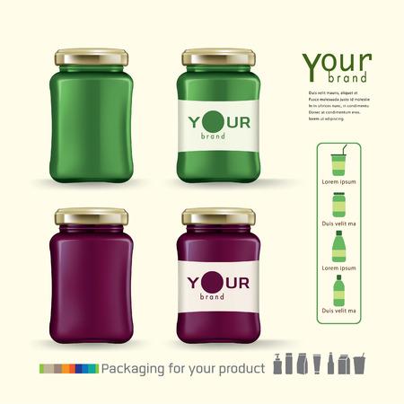 Stock Vector Illustration: Jam bottle design for your product.vector