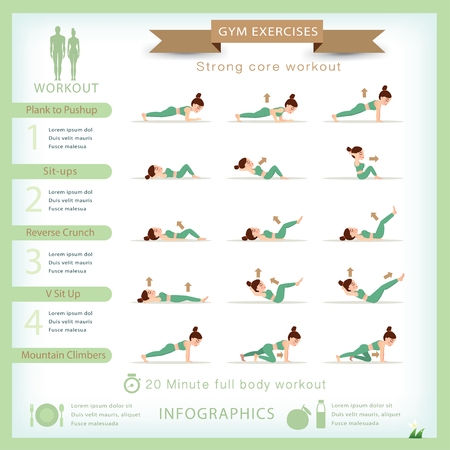 workout gym: Sport and fitness infographics. Home workout. Vector. Illustration