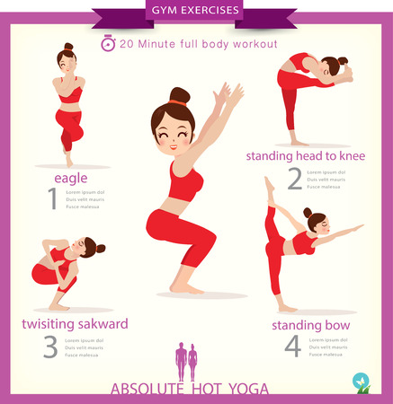 Woman in pose practicing yoga.vector illustration