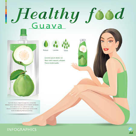 girl drinking water: Beautiful women with guava juice packaging.