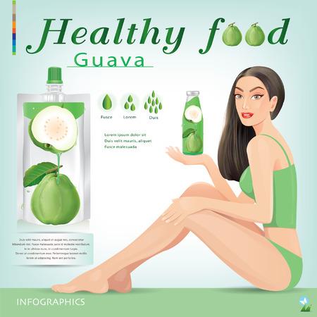 schöne frauen: Schöne Frauen mit Guavensaft Verpackung. Illustration