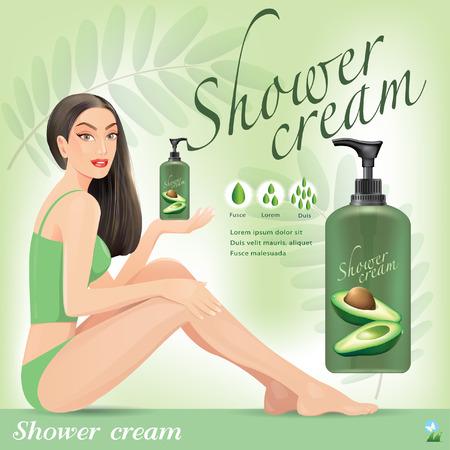 moisturizing: Beautiful girl with cream from avocado.vector