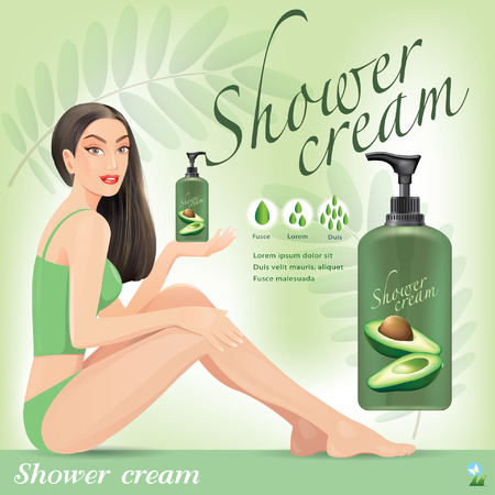 Beautiful girl with cream from avocado.vector