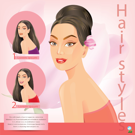 horse care: Beautiful women with facial hair styles. Illustration