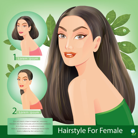 hair dresser: Beautiful women with facial hair styles. Illustration