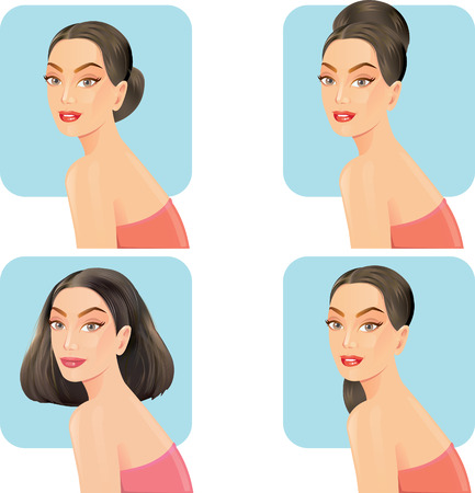 long straight hair: Beautiful women with facial hair styles. Illustration