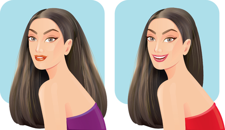 curly tail: Beautiful women with facial hair styles. Illustration