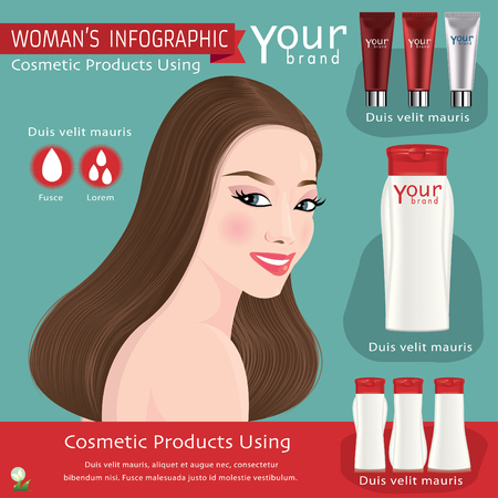 Girl with beautiful haircut. Illustration of Bottle for Shampoo. Vector.
