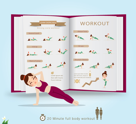 Sport and fitness infographics. Home workout. Vector. Stock Illustratie