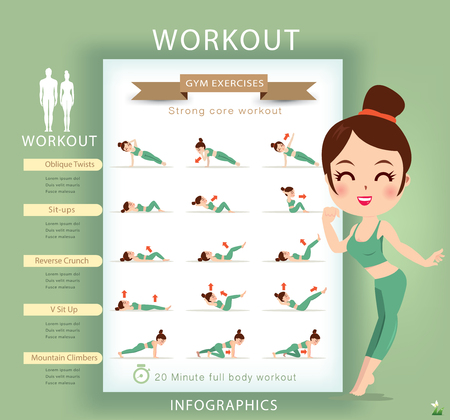 similar images preview: Preview Save to a lightbox  Find Similar Images  Share Stock Vector Illustration: Sport and fitness infographics. Home workout. Vector.