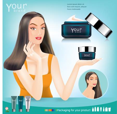 moisturizing: Face creams using infographics. moisturizing cream. Vector
