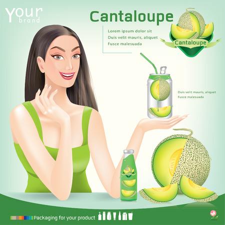 Beautiful women holding fruit juice packaging.vector Illustration