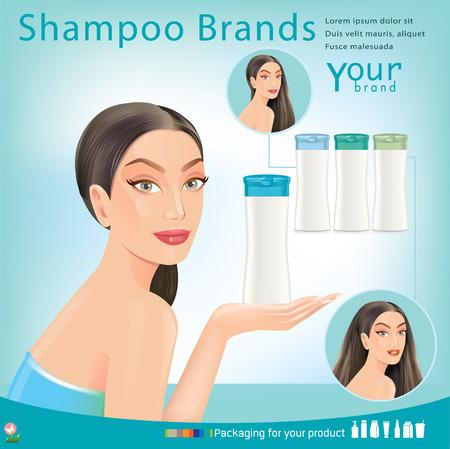 Beautiful women with Packaging Shampoo.vector