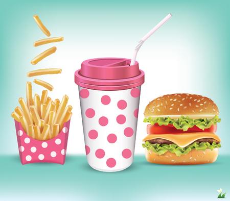 sesame: Burger fries and cola vector illustration Illustration