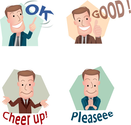 happy business man: businessman or office worker pose in various characters expressing feeling and emotion in communication concept.vecter