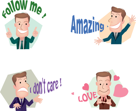 expressing negativity: Set of cut businessman or office worker pose in various characters expressing feeling and emotion in communication concept.vector Illustration