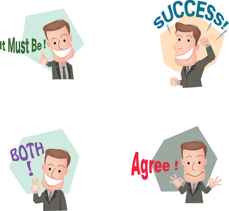 Set of cut businessman or office worker pose in various characters expressing feeling and emotion in communication concept.vector Illustration